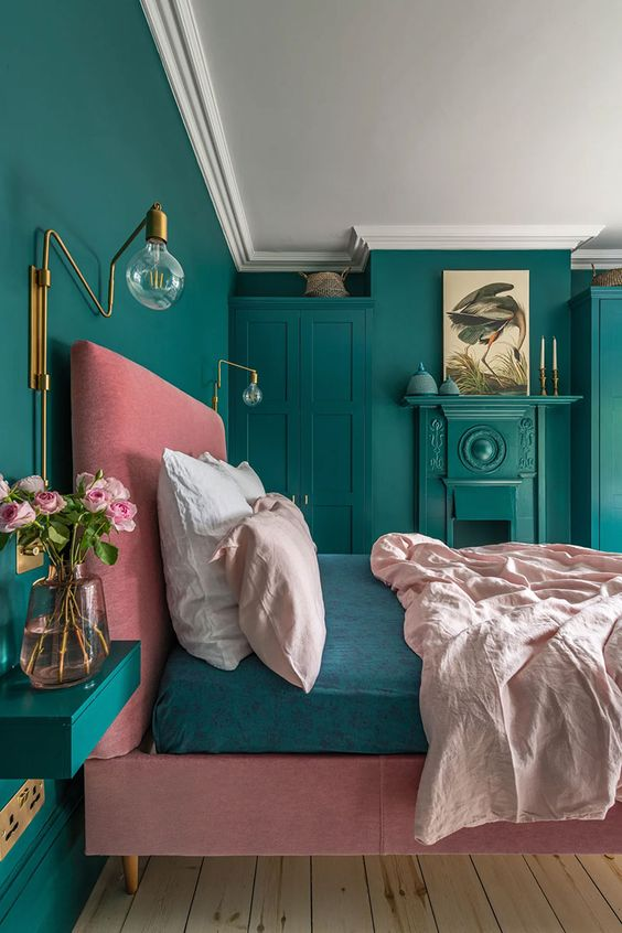 Quarto verde e rosa, super alegre e moderno