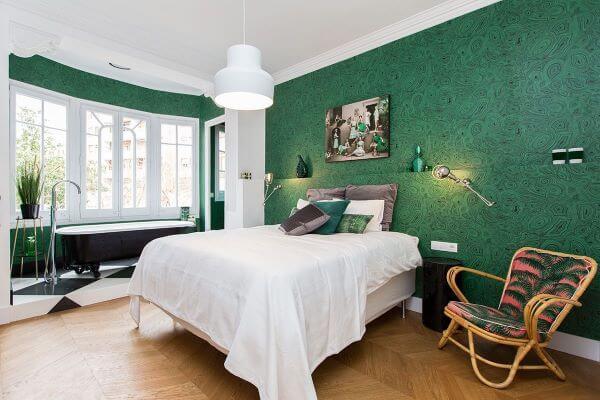 Decoração de quarto verde e super clean