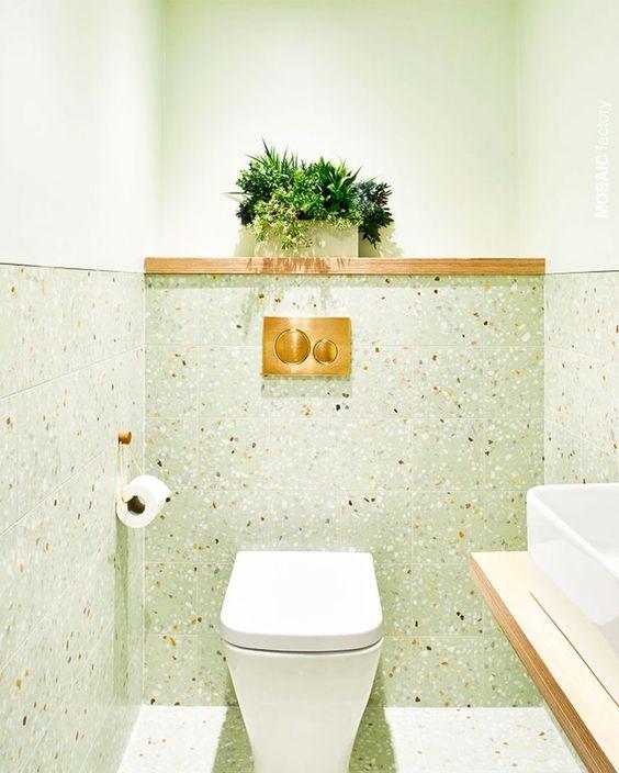 Revestimento granilite verde para banheiro moderno