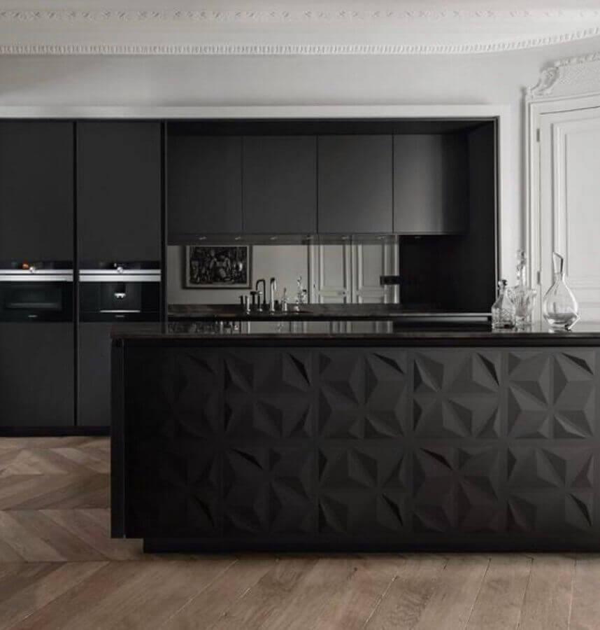 revestimento 3d para ilha de cozinha preta moderna Foto Dicas Decor