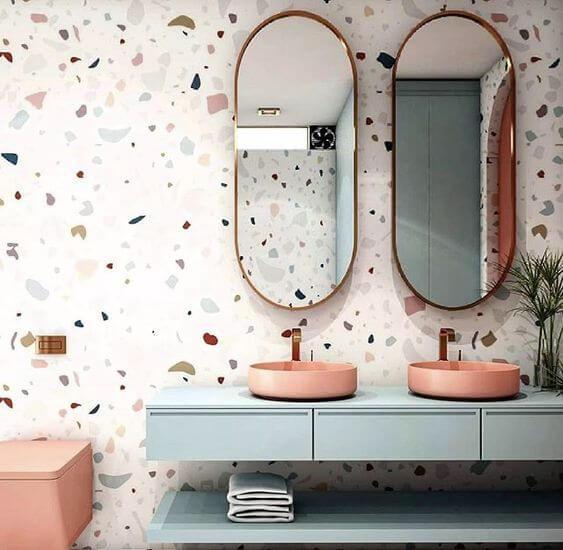 Seu banheiro pode ser muito mais moderno com o papel de parede granilite