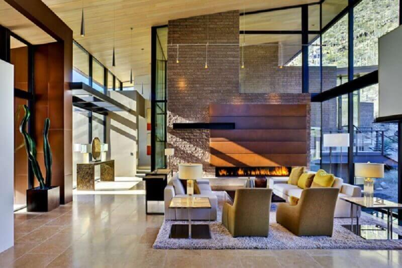 sala de casas de luxo modernas com lareira Foto Pinterset