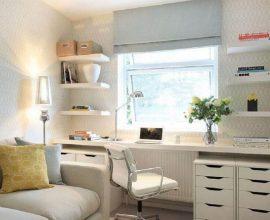 sala decorada com home office planejado Foto Alex Maguire