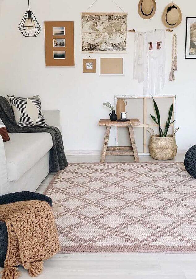 tapete de crochê para sala com decoração clean Foto Pinterest
