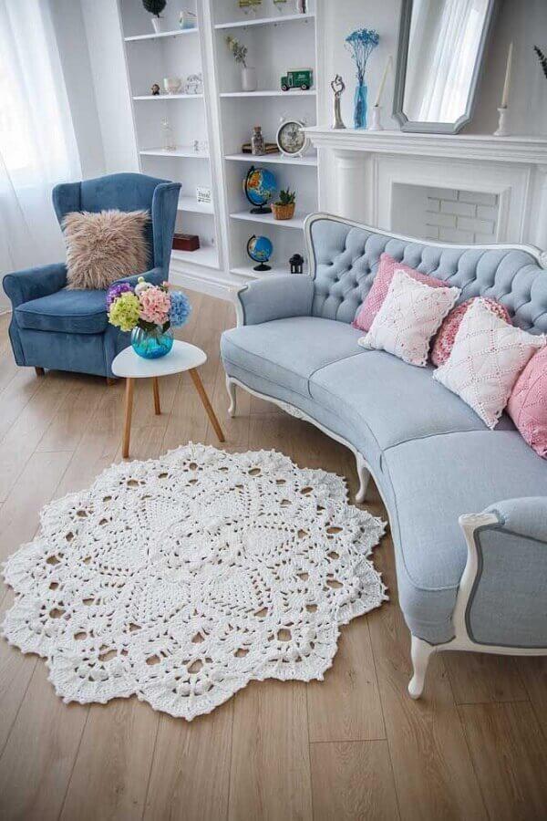 tapete de crochê para sala com decoração provençal Foto Etsy