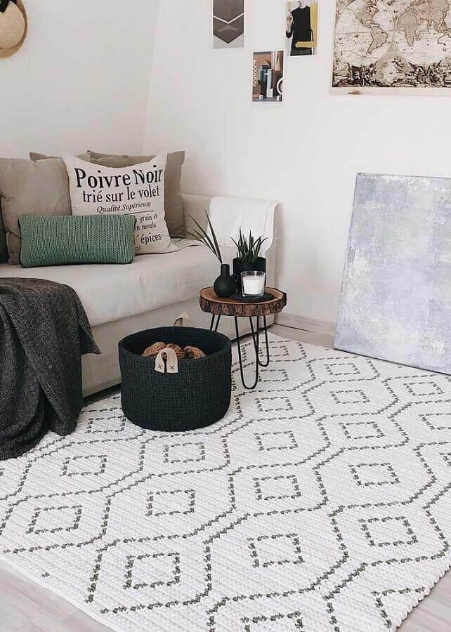 tapete de crochê para sala com estilo escandinavo Foto No Decora