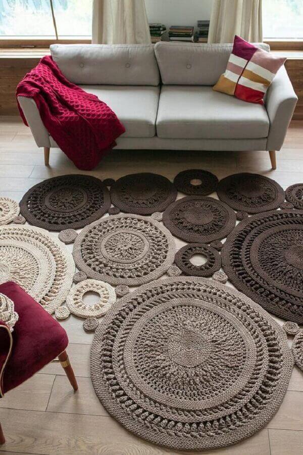 tapete de crochê para sala decorada com sofá retro Foto Etsy