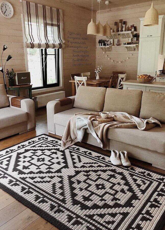 tapete de crochê para sala decorada em cores neutras Foto Behance