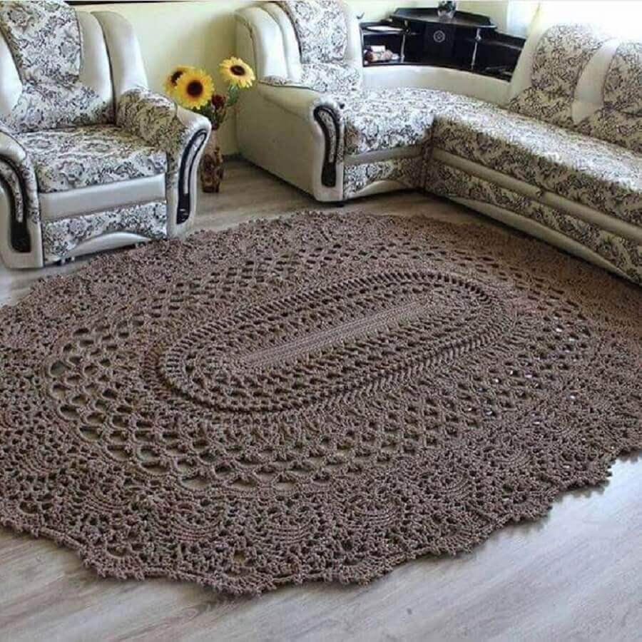 tapete de crochê para sala simples Foto Jamile Crochetc