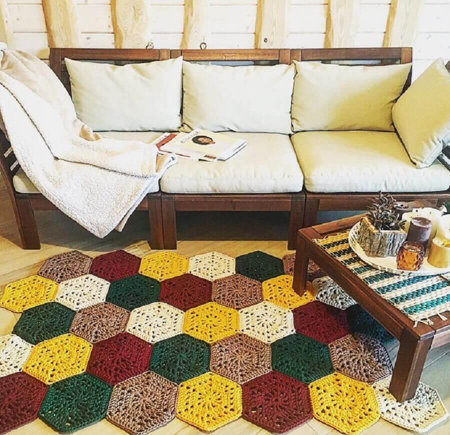 tapete de crochê para sala simples colorido Foto Belkin Home