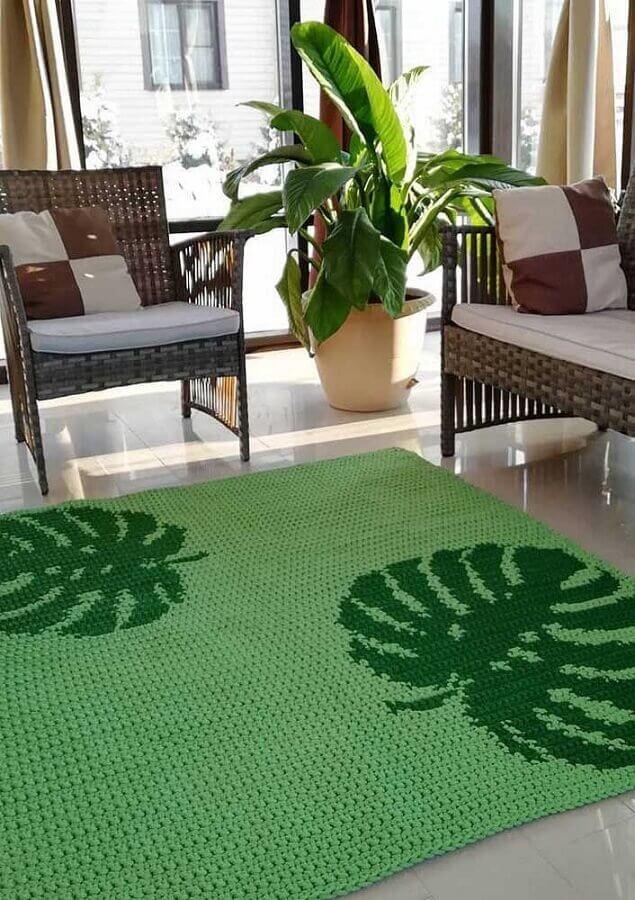 tapete de crochê para sala verde com desenhos de folhas grandes Foto Muito Chique