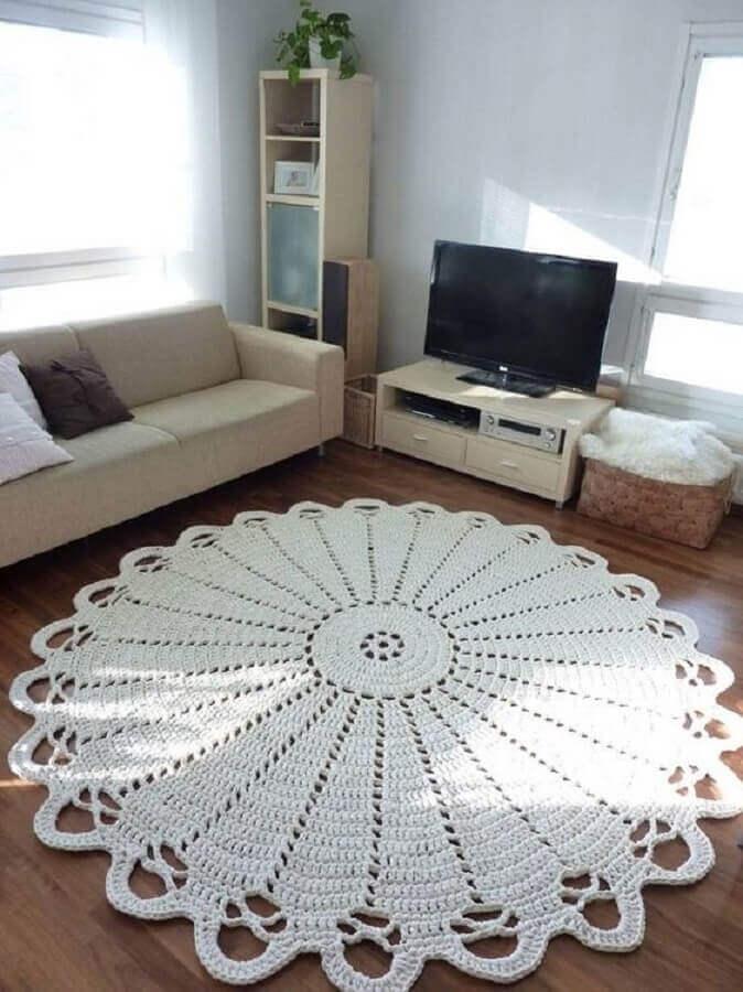 tapete de crochê redondo para sala simples Foto Revista Artesanato