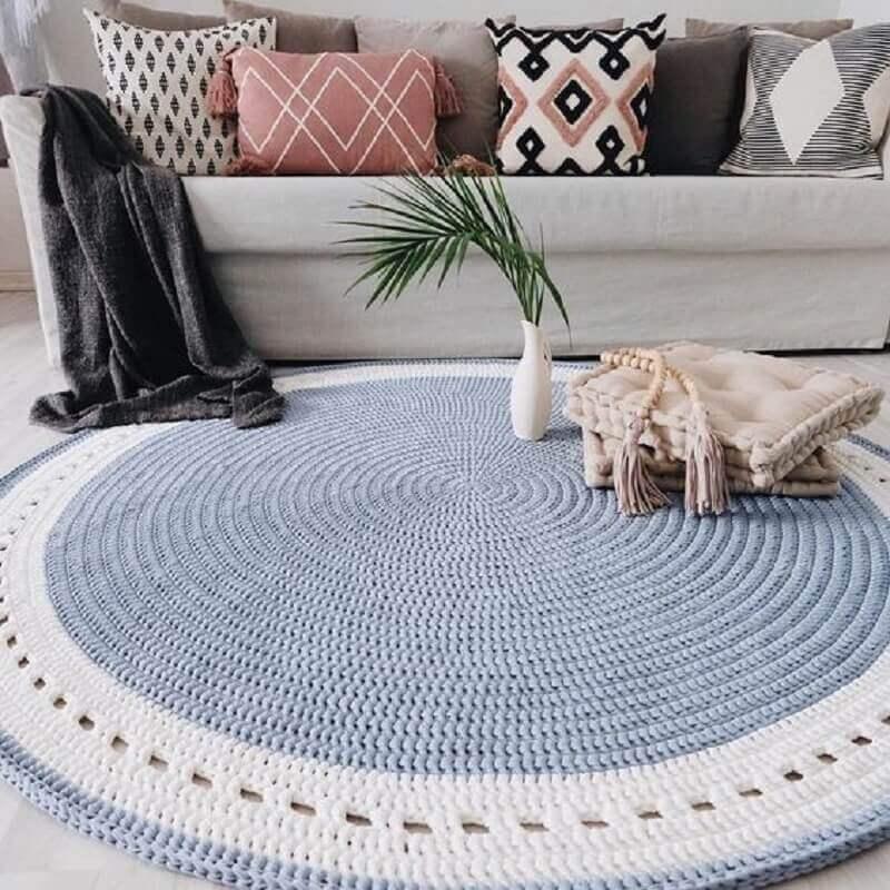 tapete para sala de crochê redondo Foto Pinterest