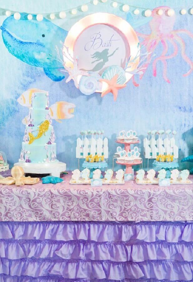 tons pastéis para decoração de festa infantil sereia Foto Baby and Breakfast
