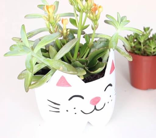 Vaso autoirrigável decorado de gatinho