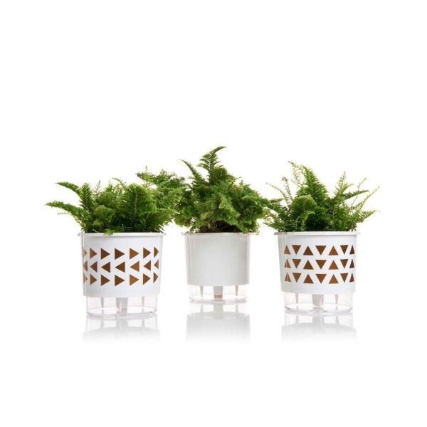 Vaso autoirrigável branco para jardim simples