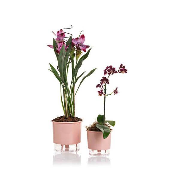 Vaso cor de rosa para flores autoirrigável