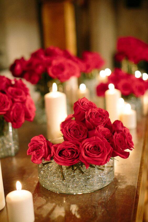 Ideias para dia dos namorados com rosas decorada na vela