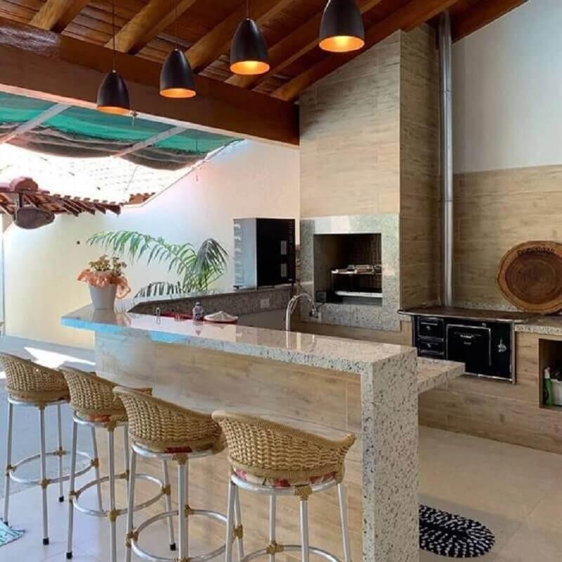 área gourmet externa simples com churrasqueira planejada Foto Big Interior Design Blog