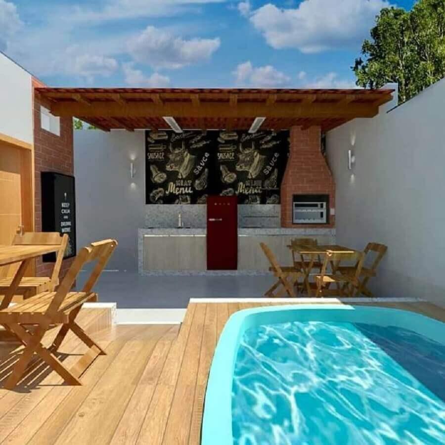 área gourmet externa simples com piscina e churrasqueira Foto Pinterest