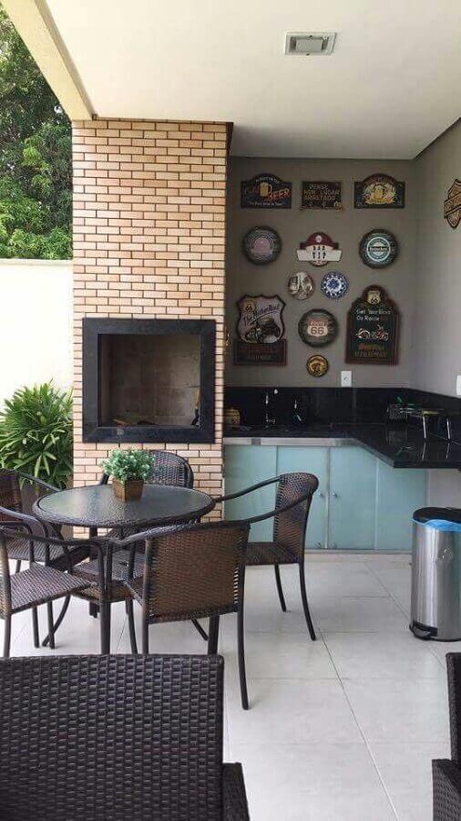 área gourmet simples com churrasqueira Foto Adriana Marcolino