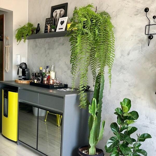 As plantas trazem frescor para a decoração do home bar