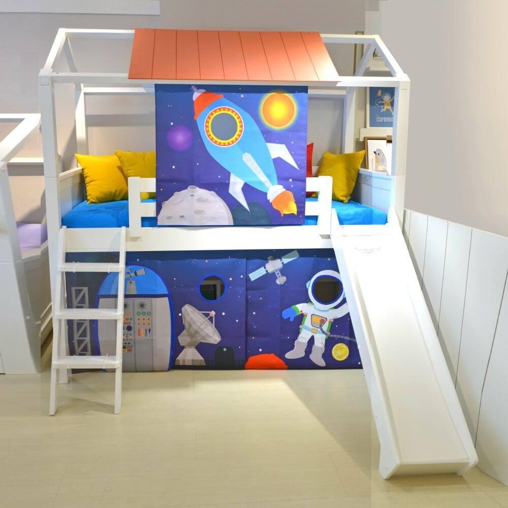 Cama infantil cabana com escorregador
