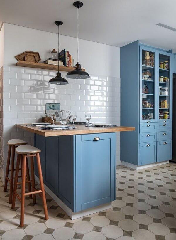 Cozinha vintage armário azul