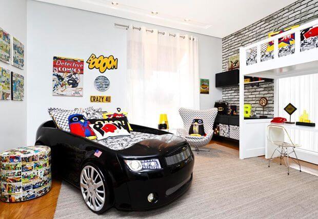 Decore o quarto dos meninos com cama infantil carros