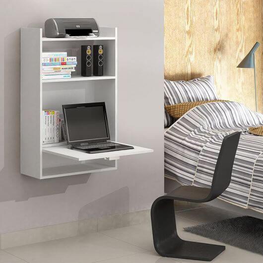 Decoração moderna com escrivaninha com estante. Fonte: Pinterest
