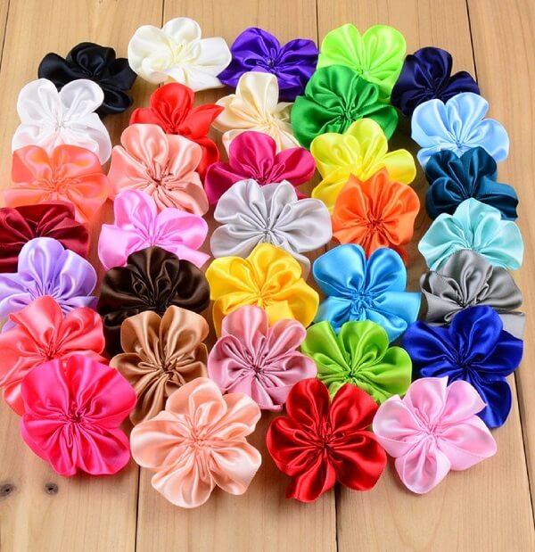 Flor de cetim dobrada diversas cores