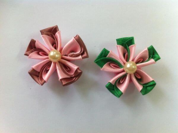 Flor de cetim fita colorida