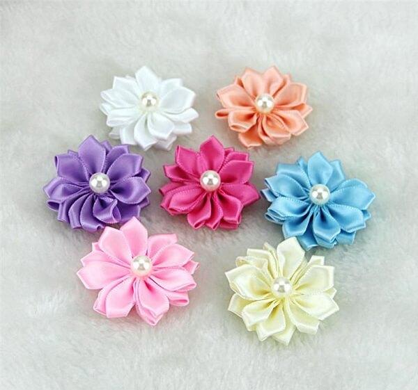 Flor de cetim fita várias cores