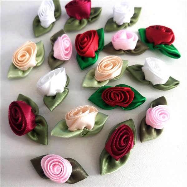 Flor de cetim rosas