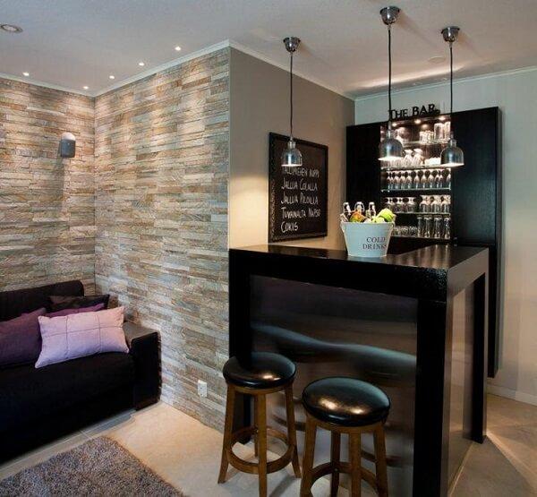 Ideia especial para quem quer ter um home bar na sala