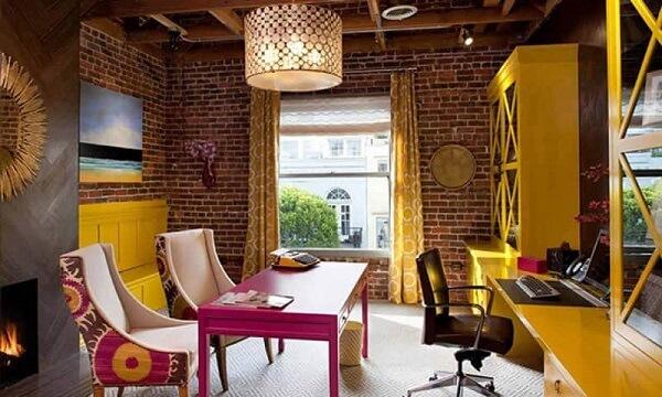 Móveis para escritório armário amarelo
