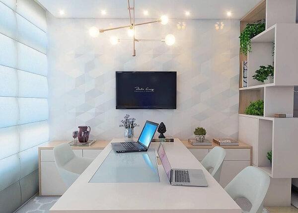 Móveis para escritório branco mesa e cadeira