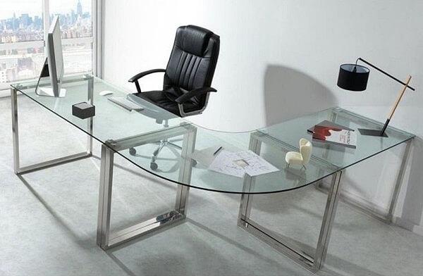 Móveis para escritório mesa de vidro em L