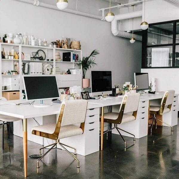 Móveis para escritório mesa e cadeira branca