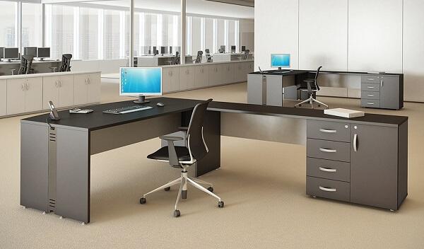 Móveis para escritório mesa em L com armário