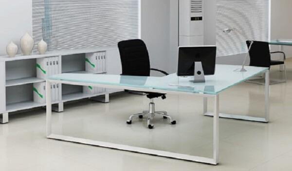 Móveis para escritório mesa em L vidro
