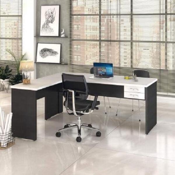Móveis para escritório mesa em l preto e branca