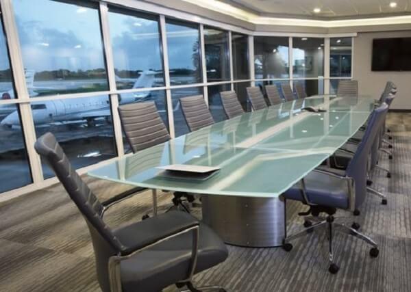 Móveis para escritório mesa vidro com cadeiras
