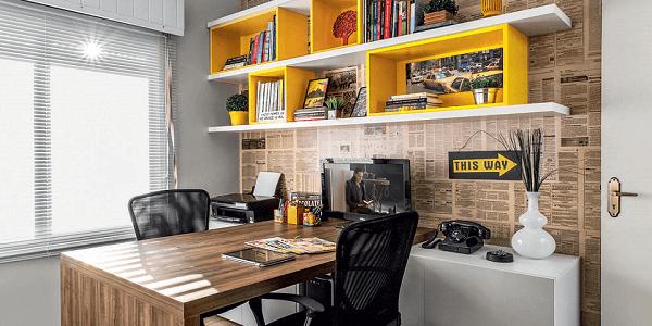 Móveis para escritório nichos amarelos