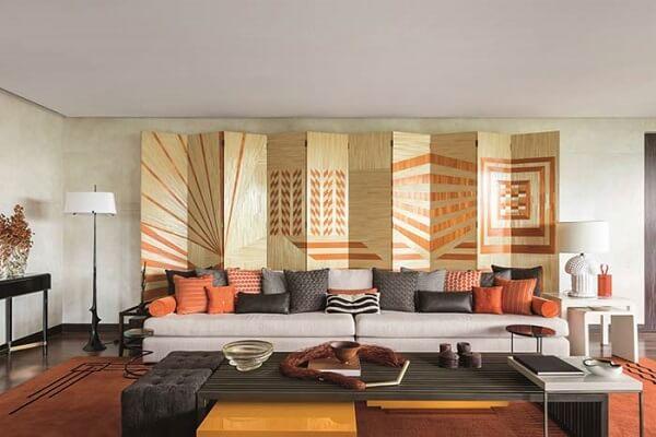 Modelo de biombo de madeira mdf decora a sala de estar