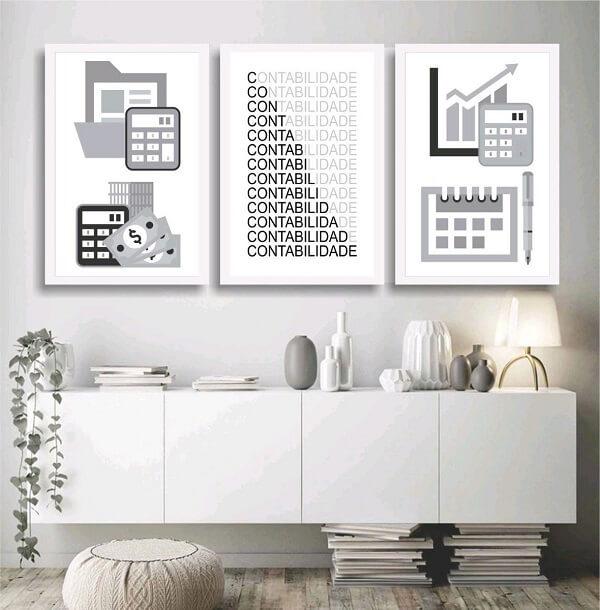 Modelos de quadro para escritório contabilidade em tons de branco e preto