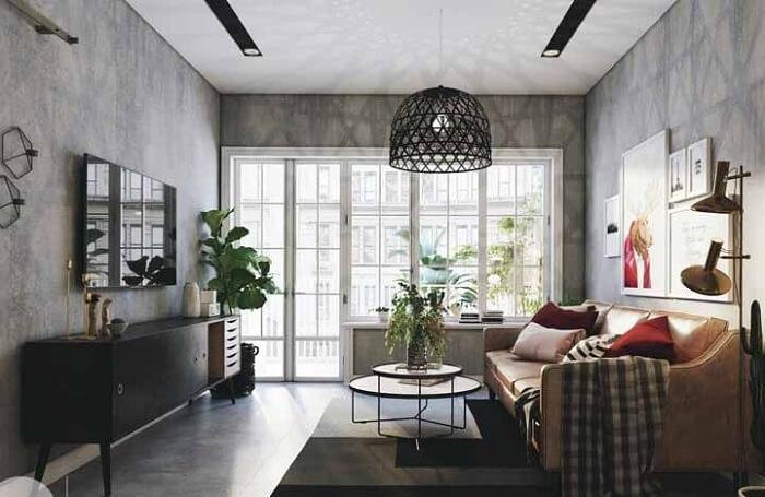 O rack retrô preto chama a atenção na decoração da sala de estar