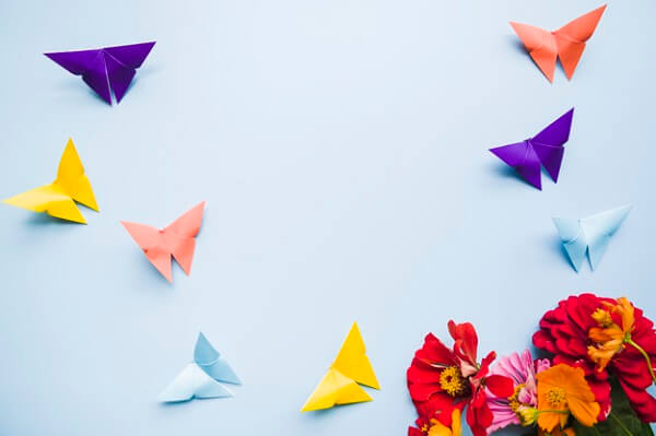 Easy origami colorful butterflies