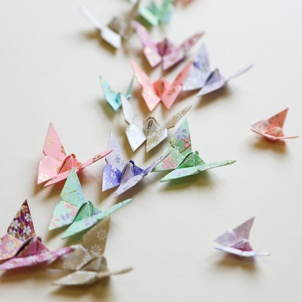 Easy origami patterned butterflies