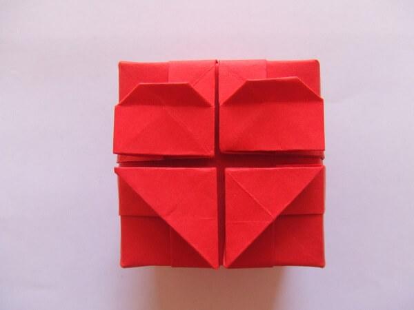 Origami fácil caixa coração